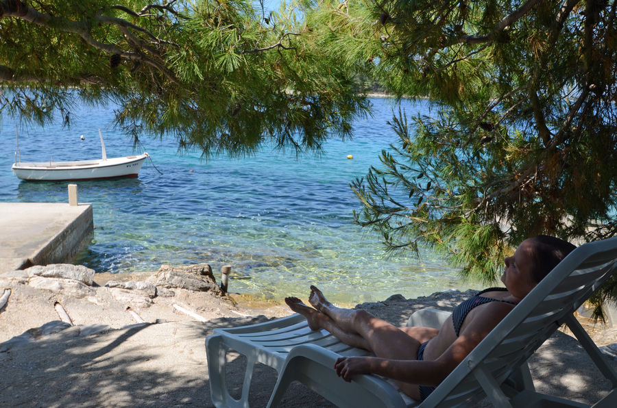 Korcula Karbuni apartments Maks shade on the beach